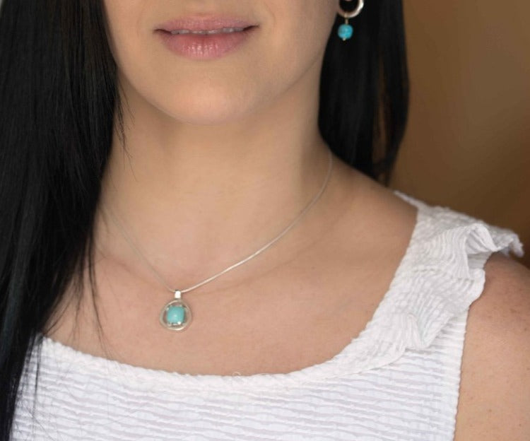 Turquoise Silver Geometric Necklace