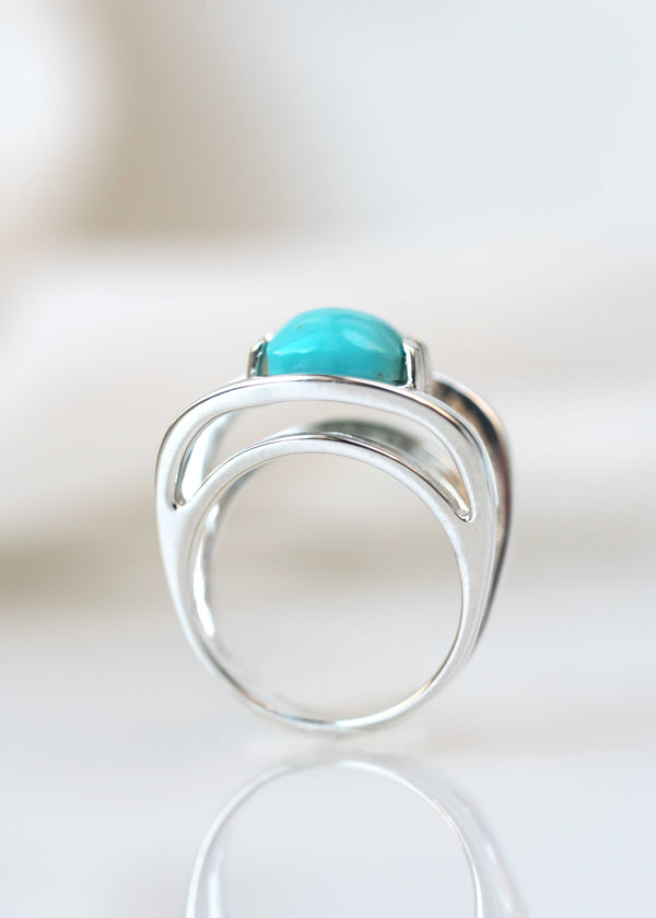 turquoise silver geometric ring