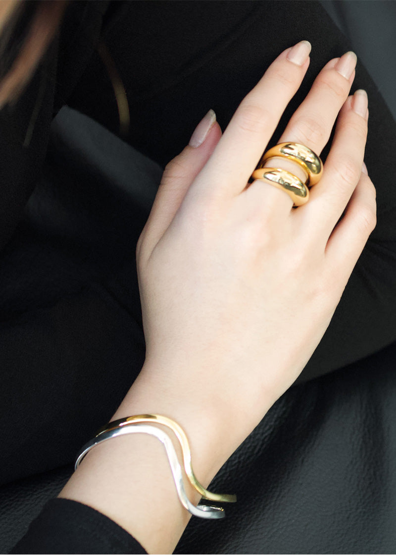 Two Dome Gold Ring