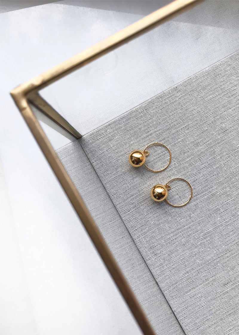 Ball Wire Hoops Earrings