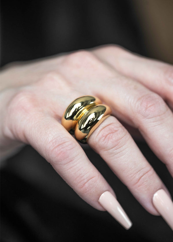 gold dome stacking ring chunky statement