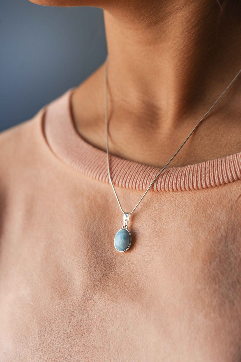 Natural Larimar Necklace in Sterling Silver
