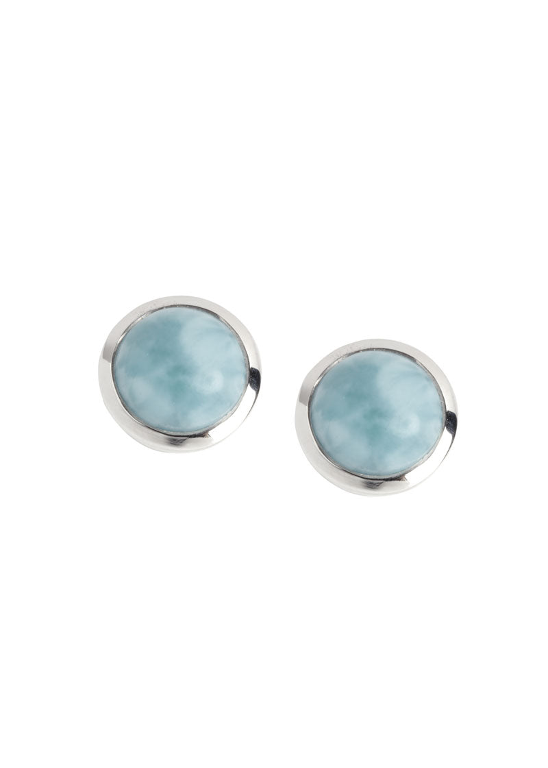 Natural Larimar Earrings in Sterling Silver, birthday gift, graduation gift