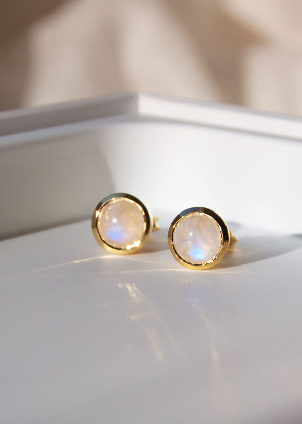 Moonstone Studs in 18k Gold Vermeil