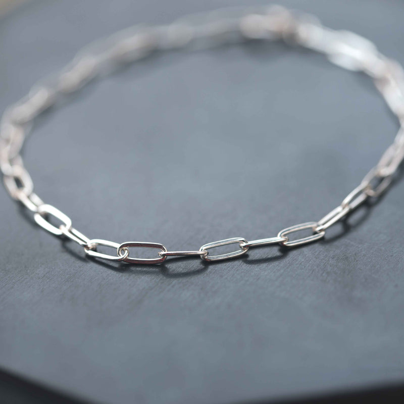 paperclip link chain minimal silver bracelet