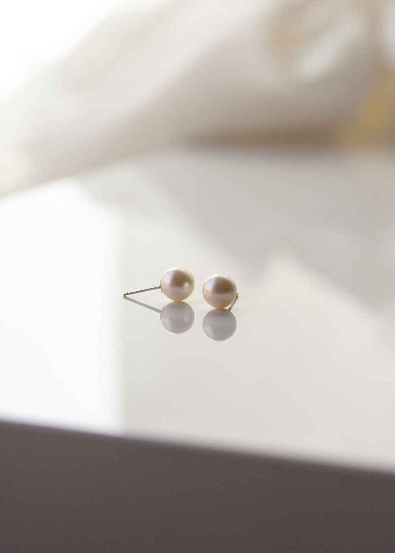 Pearl Studs in solid gold