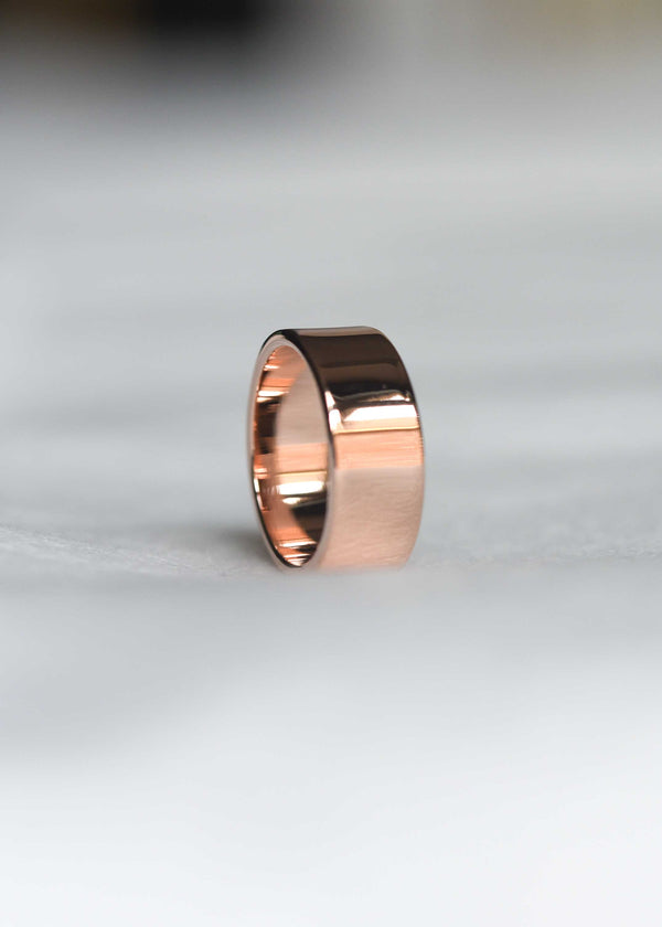 rose gold thick stacking ring, rose gold cigar band, wide ring, rose gold statement ring