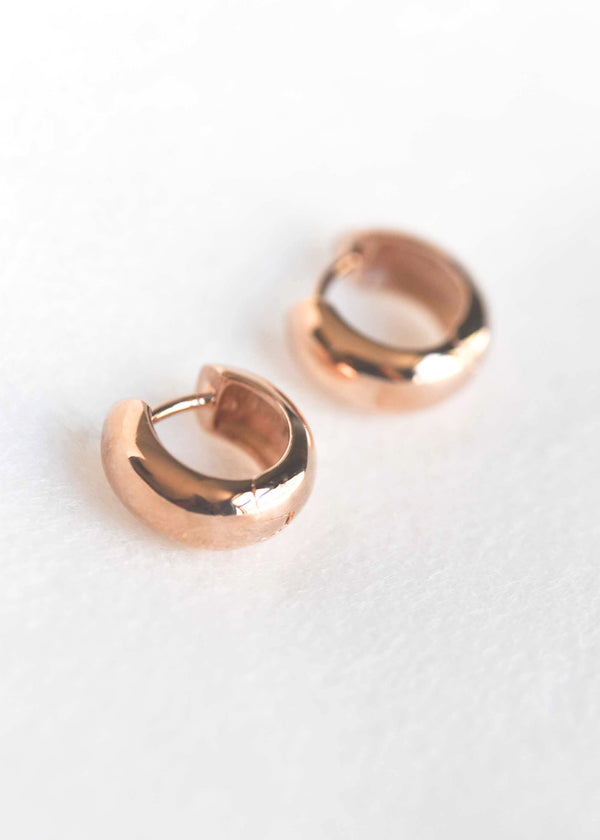 rose gold huggie hoop earrings small nickel free