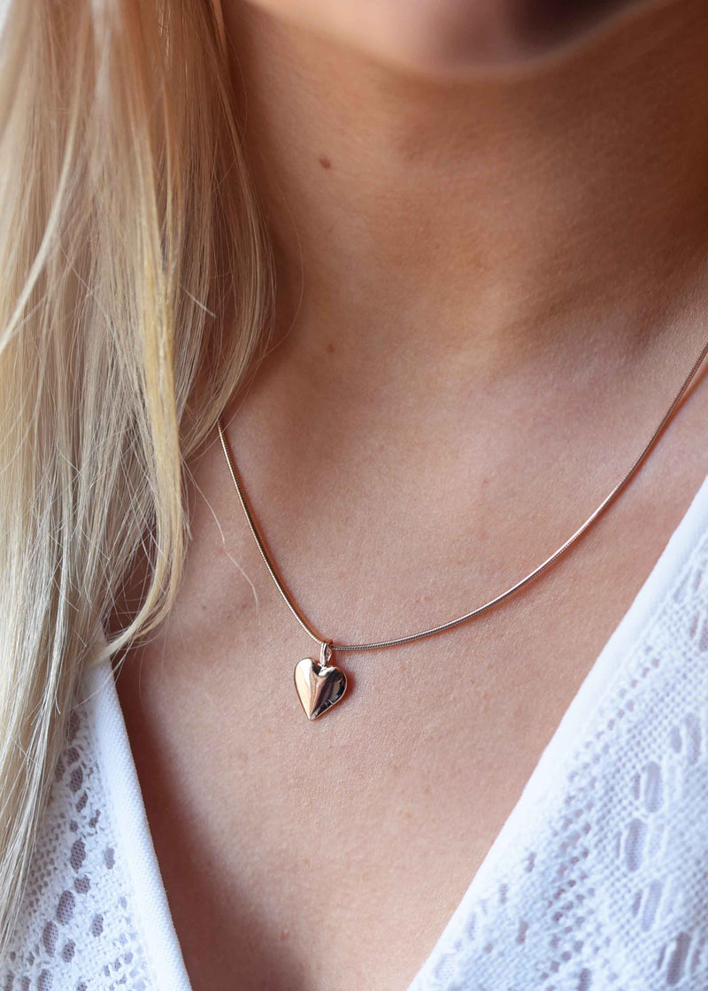 Rose Gold Heart Necklace, girlfriend gift