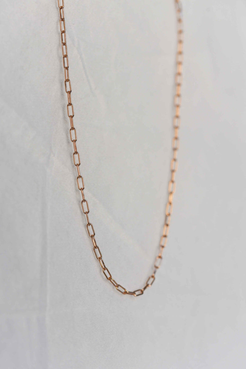 Rose gold rectangle link chain paperclip chain chunky chain necklace