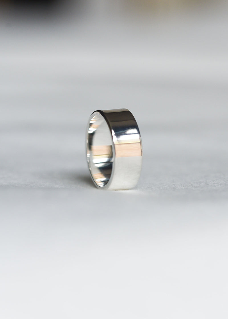 silver pinky ring, wide pinky ring, Silver Cigar Band, Silver thick stacking ring