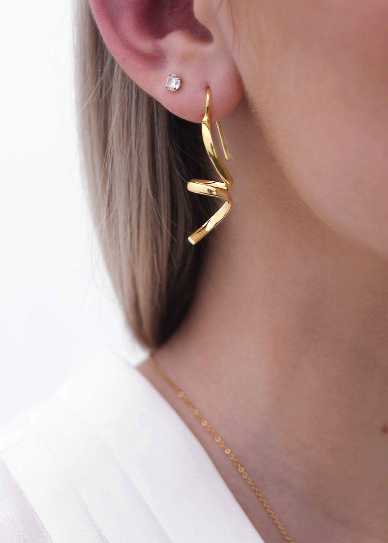 Small Abstract Earrings Gold