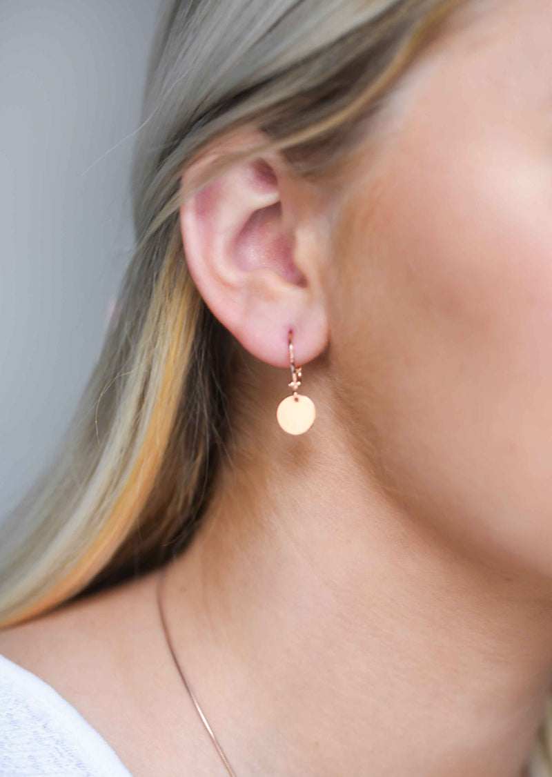 Simple Delicate Rose Gold Disc Earrings