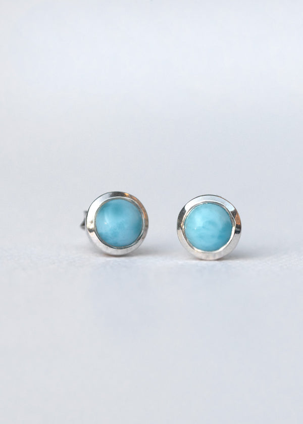 Natural Larimar earrings in Sterling Silver
