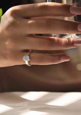 Blue Flash Moonstone Pinky Ring Silver June Birthstone