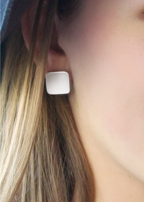Square Matte Studs - Earrings