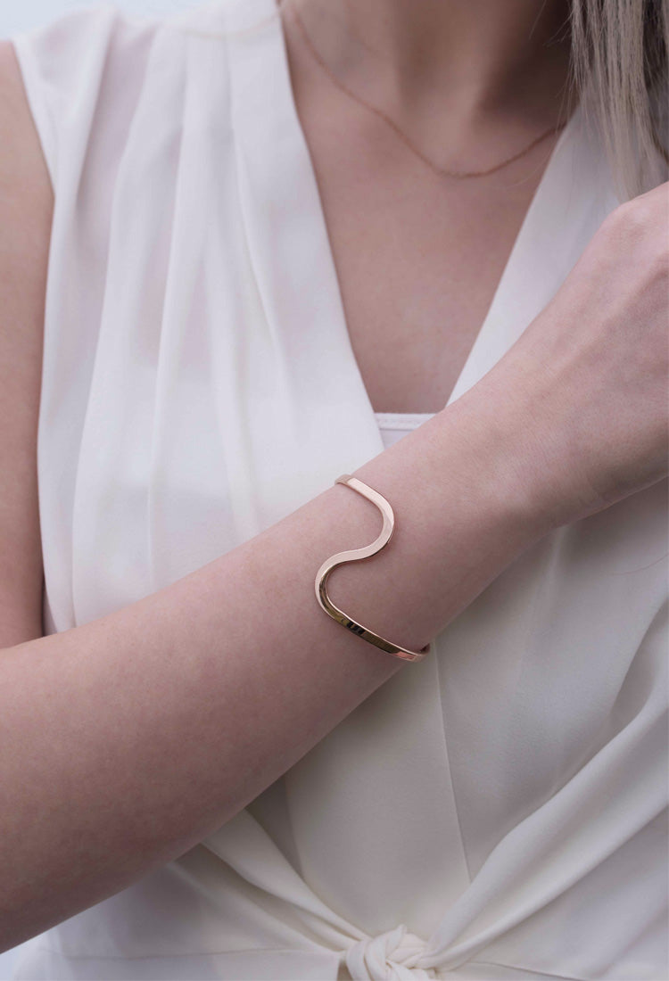 Statement Curve Bracelet - Rose Gold Vermeil