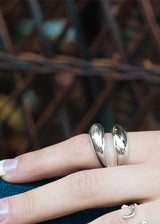 Two Dome Ring, Double Dome Ring Sterling Silver