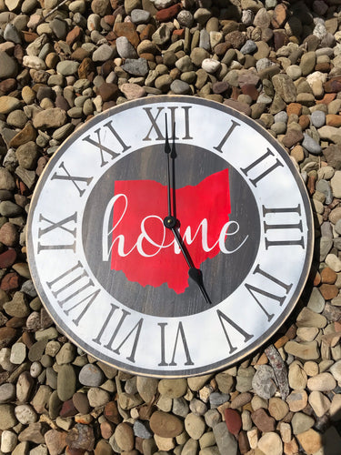 Ohio Home clock with script home 17""