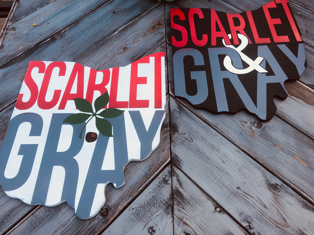 Scarlet & gray Ohio cut out