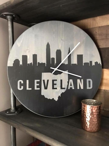 Cleveland skyline (with Ohio) clock 17""