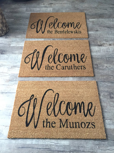 Welcome doormat with last name