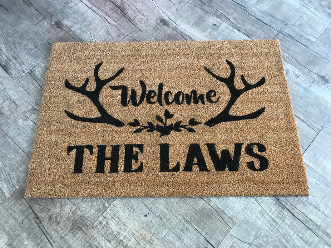 Welcome with antlers doormat and last name