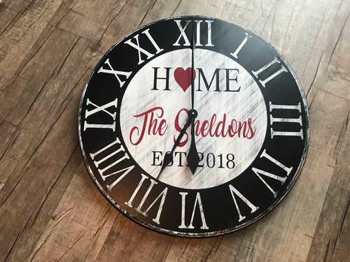Ohio Home last name clock with heart  17""