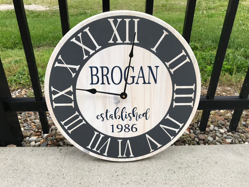 Farmhouse last name clock 17""