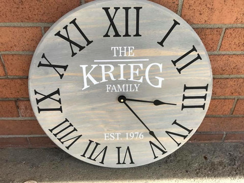 Family name (Kreig sample) clock 17""
