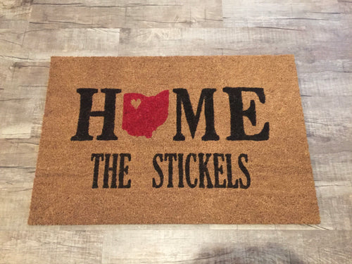 Home doormat with Ohio and last name