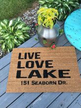 Live Love Lake doormat with address