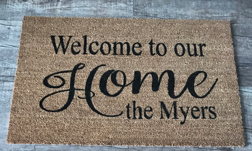 Welcome to our home (script) doormat with last name