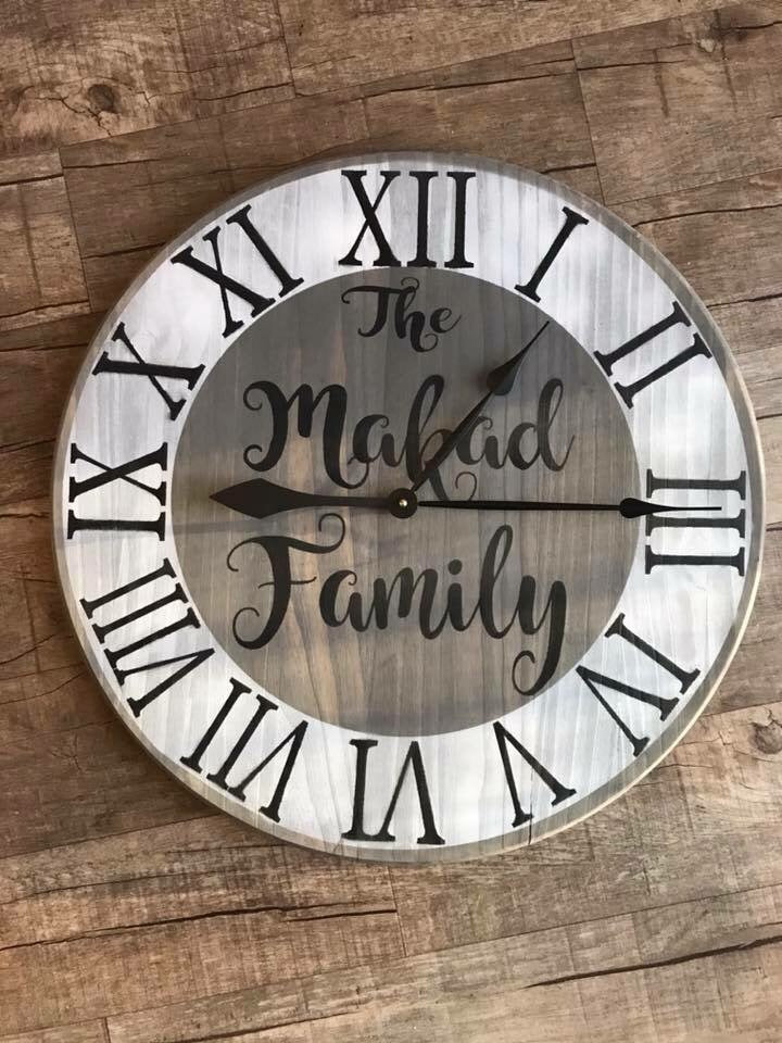Family name clock 17""