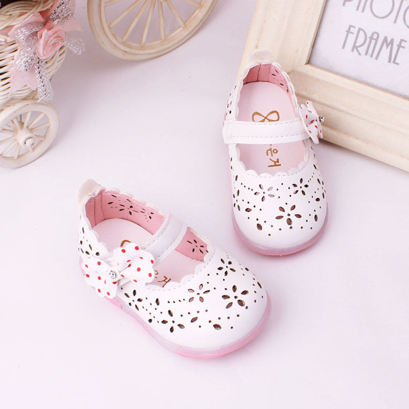fc3d2c279a100 ... 0-3Y Baby Girls leather shoes Princess butterfly-knot soft Toddlers  Kids casual Shoe ...
