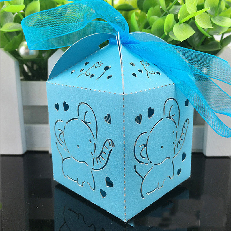 10pcs Elephant Laser Cut Hollow Carriage Favors Box Gifts Candy