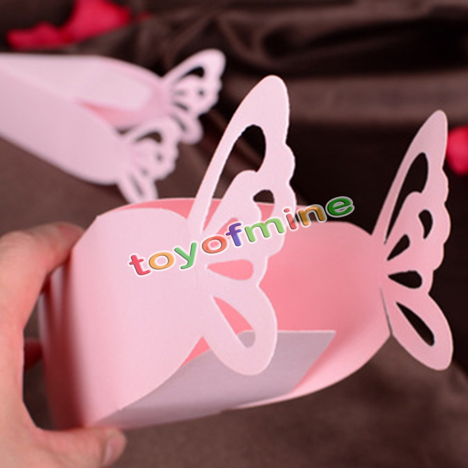 10pcs/pack Pink/White Butterfly Candy Boxes Baby Shower Christening ...