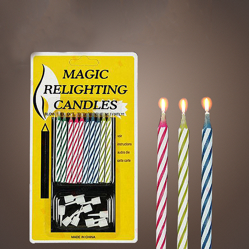 2Bag Lot Birthday Cake Candle Not Blowing Out Magic Relighting Candles Trick Funny Kids Gifts