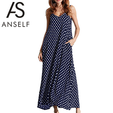 4303cbdcf08 Anself 2017 Fashion Women s Polka Dots Maxi Dress Long Casual Summer Beach  Chiffon Party Dresses Robe