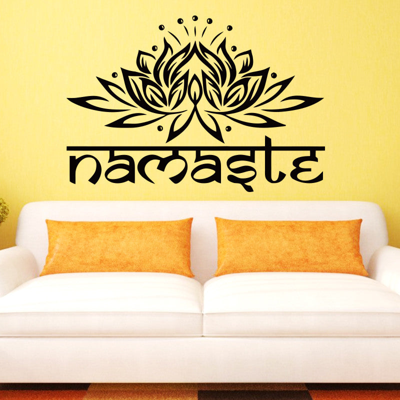 Art design Indian Namaste Words religion Wall Decal Vinyl Lotus Yoga ...