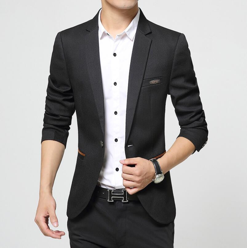 Berthatina Autumn Casual Men Blazers One Button Formal Jacket Black Blue Coat Solid Fashion Male Slim Fit Suit Jacket