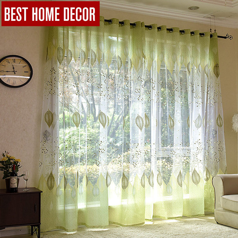 BHD Sheer Tulle Window Curtains For Living Room The Bedroom Kitchen Modern Green