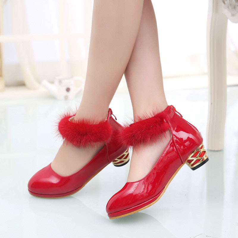 ead4056e5fb6 ... Children Princess Girls Wedding Shoes Baby Girl High Heels For Party  Christmas Red Kids Dress Shoes ...