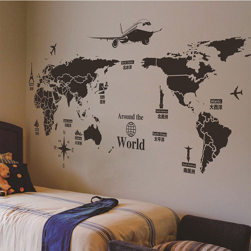 Creative Personality World Map Mural Wall Decorations Living Room