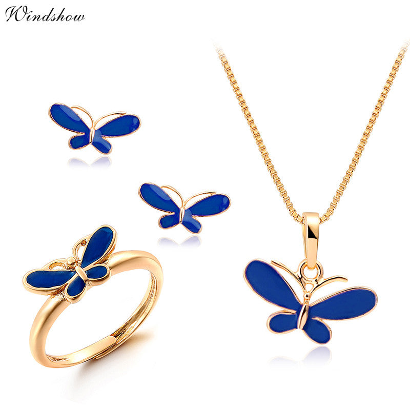 Cute blue oil drop butterfly necklaces pendants earrings ring cute blue oil drop butterfly necklaces pendants earrings ring small jewelry sets for kids children mozeypictures Gallery