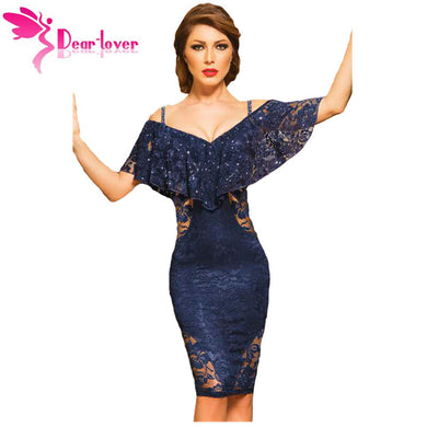 Dear-Lover Lace dresses Summer Party Womens sElegant Navy Sexy V Neck Off  Shoulder Sheath 050d515785bf