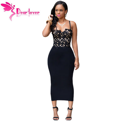 87535573958 DearLover Bodycon Dress 2016 Sexy Sleeveless Bustier Lace Top Black Bandage  Midi One-Piece Club