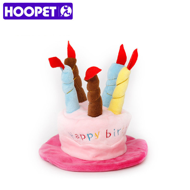HOOPET Dog Birthday Hat With Cake Candles Design Party Costume Accessory Headwear For Dogs
