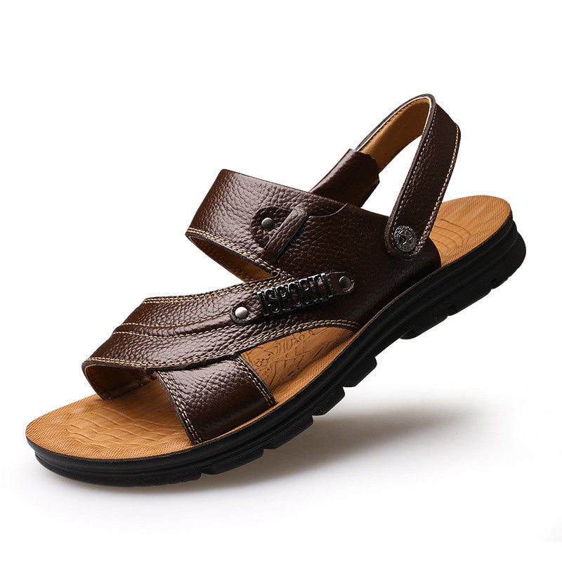 5b0a15f578ea1 ... Merkmak New Arrive 2017 Men Summer Sandals Mens Genuine Leather Shoes  Casual Beach Sandals Slippers two ...
