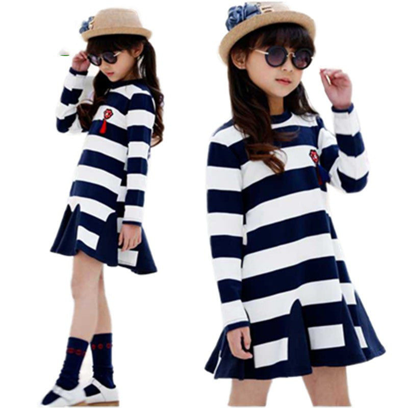 371d165abd99 New Spring Long Sleeve Dresses For Girls Striped Casual Party Dress ...